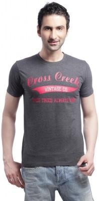 Cross Creek Printed Men's Round Neck Grey T-Shirt