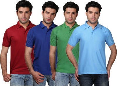 TAGEURO Solid Men's Polo Neck Multicolor T-Shirt