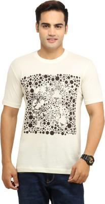 WallWest Printed Men's Round Neck Beige T-Shirt