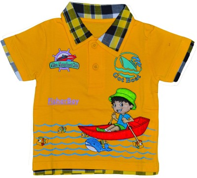 Smilee Graphic Print Baby Boy's Flap Collar Neck Yellow T-Shirt