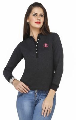 Run of luck Solid Women's Henley Grey T-Shirt