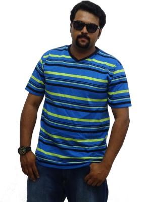 East West Striped Men's V-neck Blue, Green T-Shirt