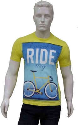 Date And Time Printed Men's Round Neck Yellow T-Shirt