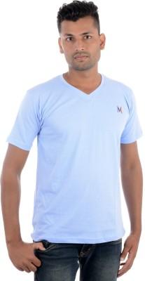 Moladz Solid Men's V-neck Light Blue T-Shirt