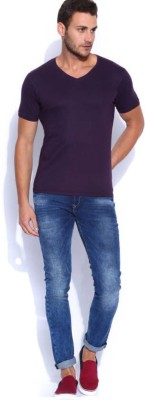 Smilebynature Solid Men's V-neck Purple T-Shirt