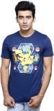Pokemon Printed Men's Round Neck Blue T-...