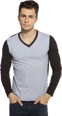 Pepperclub Solid Men's V-neck Grey, Brown T-Shirt