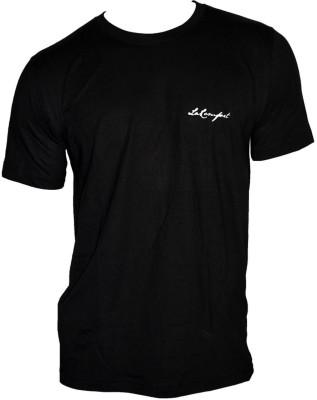 LaKomfort Solid Men's Round Neck Black T-Shirt