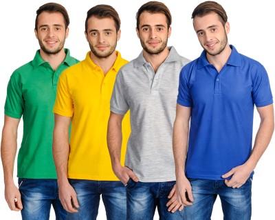 Superjoy Solid Men's Polo Neck Grey, Blue, Green, Yellow T-Shirt