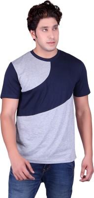Vivid Bharti Solid Men's Round Neck Grey T-Shirt