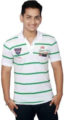 Lemon Slice Striped Men's Polo Neck White, Green T-Shirt