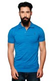 Nucode Solid Men's Polo Neck Blue T-Shir...