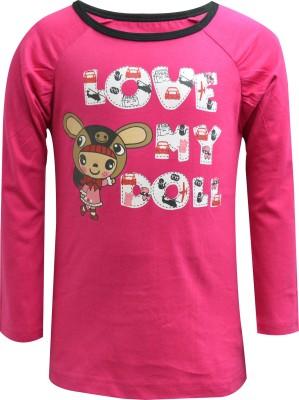 Blueriver Graphic Print Girl's Round Neck Pink T-Shirt