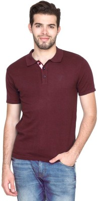 ORKO Solid Men's Flap Collar Neck Brown T-Shirt