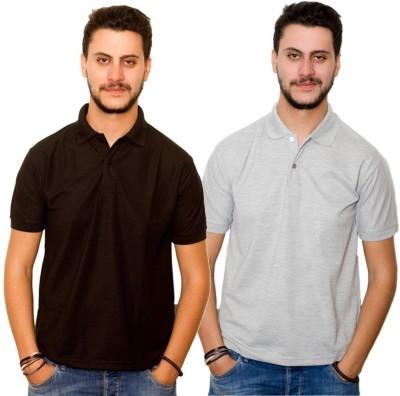 Dreamz Clothing Co Solid Men,s Polo Neck Black, Grey T-Shirt