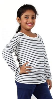 Pinky Ponky Striped Girl's Round Neck White T-Shirt