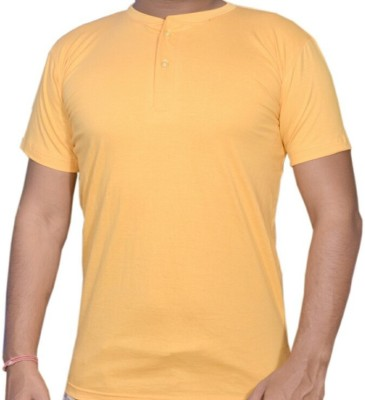 VENUS COLLECTION Solid Men,s, Boy's Henley Yellow T-Shirt