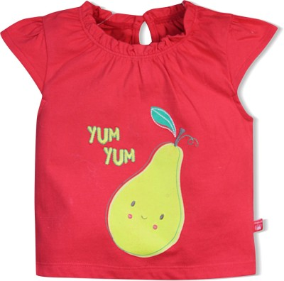 FS Mini Klub Printed Baby Girl's Round Neck Red T-Shirt