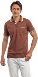 BG69 Solid Men's Polo Neck Brown T-Shirt