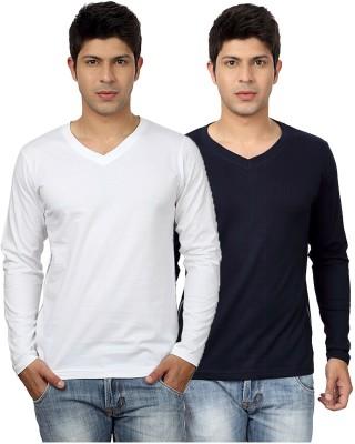 Top Notch Solid Men's V-neck White, Dark Blue T-Shirt