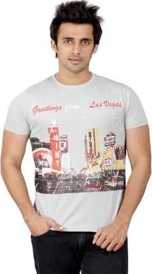 Stephen Armor Graphic Print Men's Round Neck Grey T-Shirt