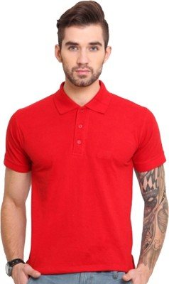 GOINDIASTORE Solid Men's Polo Neck Red T-Shirt