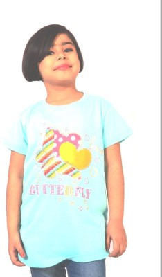 tiny tots Printed, Applique, Embellished Baby Girl's Round Neck Blue T-Shirt