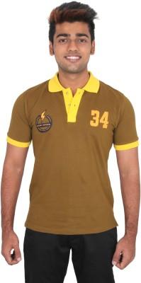Moxi Printed Men's Polo Neck Green T-Shirt