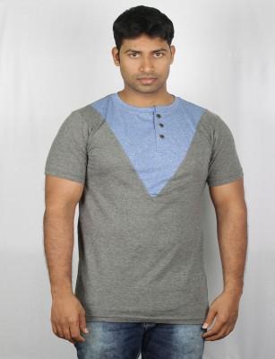 Mr Sha Printed Men's Round Neck Blue T-Shirt
