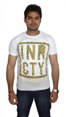 Burnout Printed Men's Round Neck White T-Shirt