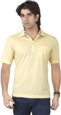 Valeta Solid Men's Polo Neck Yellow T-Shirt