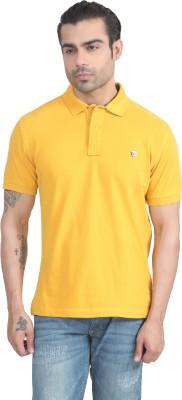 John Players Solid Men's Polo Neck Yellow T-Shirt