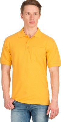 Wilkins & Tuscany Solid Men's Polo Neck Yellow T-Shirt
