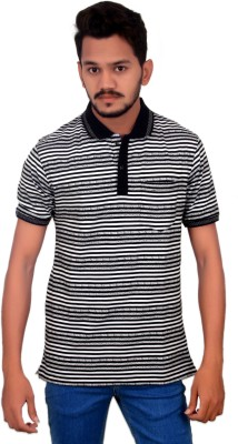 BOMBAY BLUES Striped Men's Polo Neck Black T-Shirt