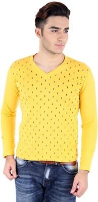 Bigidea Printed Men's V-neck Yellow T-Shirt