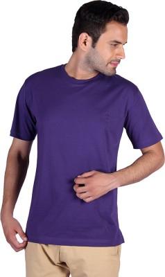 Humbert Solid Men's Round Neck Purple T-Shirt