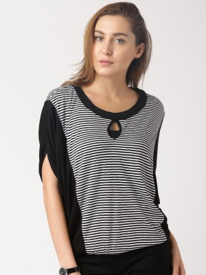 Dressberry Striped Women's Round Neck Black T-Shirt