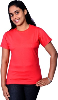 Zorba Mart Solid Women's Round Neck Red T-Shirt