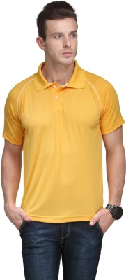 Alpha Male Solid Men's Polo Neck Yellow T-Shirt