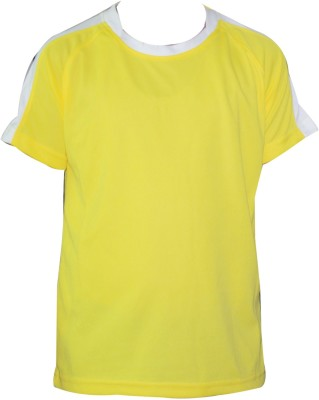 T10 Sports Solid Boy's Round Neck Yellow T-Shirt
