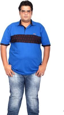 Xmex Applique Men's Polo Neck Blue T-Shirt