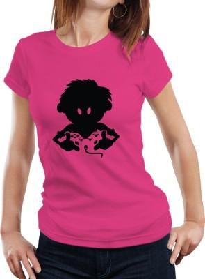 Fanideaz Printed Women's Round Neck Pink T-Shirt