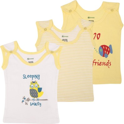 Ohms Printed, Striped Baby Boy's Square Neck T-Shirt