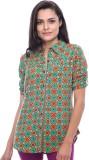 Virsa Floral Print Women's V-neck Green ...