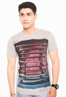 Zwizdot Printed Men,s Round Neck Grey T-Shirt