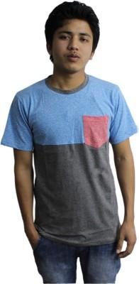Kikki Self Design Men's Round Neck Multicolor T-Shirt