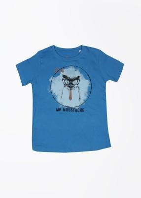 Allen Solly Junior Printed Boy's Round Neck Blue T-Shirt