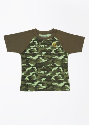 Cherokee Kids Printed Boy's Round Neck Green T-Shirt