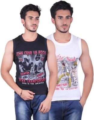 White Moon Printed Men's Round Neck White, Black T-Shirt