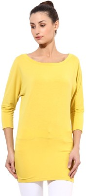 T-shirt Company Solid Women's Round Neck Yellow T-Shirt